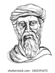 india, west bengal 5.19.2019 Greek philosopher Pythagoras sketch drawing