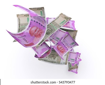 Indian 2000 and 500 Rupee New Currency Note, 3d illustration