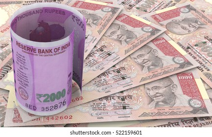 Indian 2000 Rupee Currency Note on banned 500 rupee note