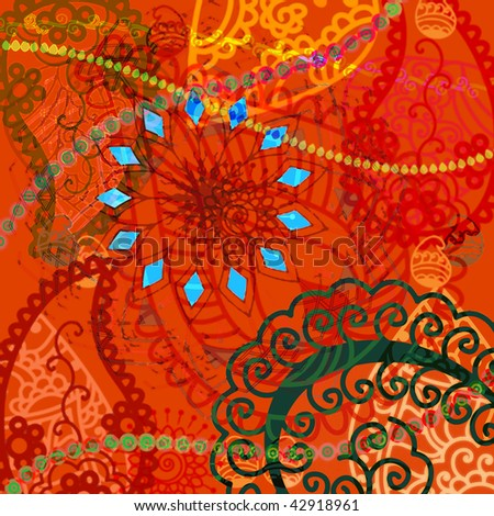 Indian Art Inspired Abstract Henna Background Stock Illustration
