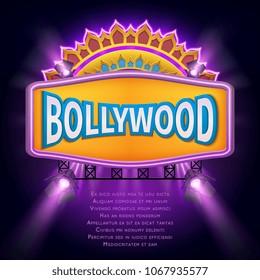 Indian bollywood cinema sign board. Illuminated banner bollywood movie film illustration