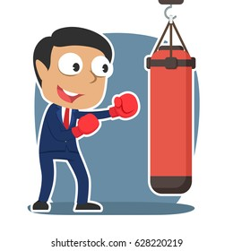 indian businessman with punching bag