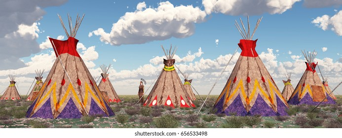 Indian camp Computer generated 3D illustration