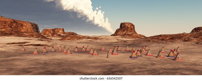 Indian camp in the mountains Computer generated 3D illustration