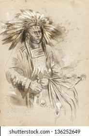 Indian chief holding a peace pipe. /// A hand drawn illustration.
