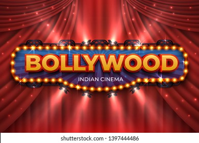 Indian cinema background. Bollywood film poster with red drapes, 3D realistic movie award stage. Blue  Bollywood cinematography