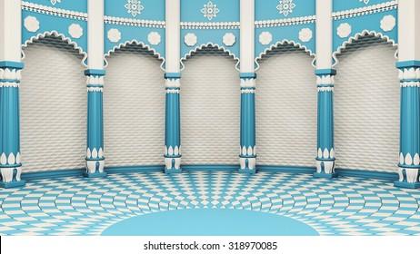 Indian Classic Columns Interior. 3d rendering
