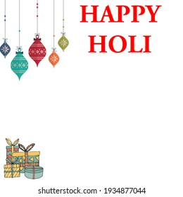 Indian Colors festival Holi ( Rangpanchmi ) Illustration art banner greeting Card