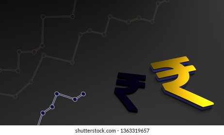 Indian currency INR with classy 3D background