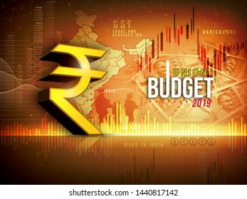 Indian economy, finance, Indian union budget 2019,  yellow, red  abstract background, illustration, Indian rupee symbol 3D rendering