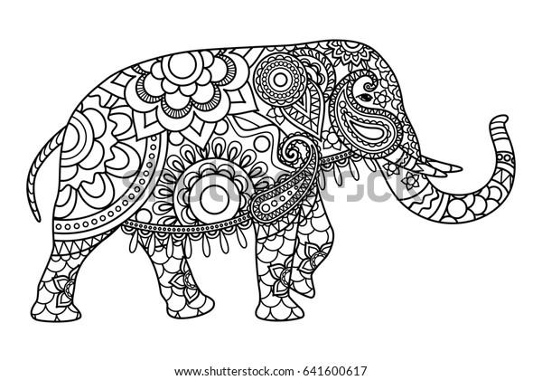 Illustration De Stock De Modele De Pages De Coloriage D Elephant 641600617