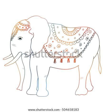 Indian Elephant Hand Draw Baby Elephant Stock Illustration 504658183