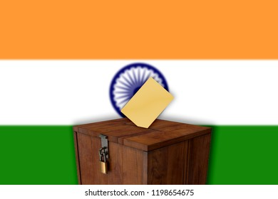 Indian flag with ballot box - elections
