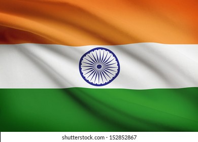 Indian flag blowing in the wind. Part of a series.
