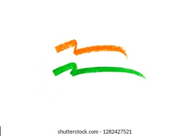 Indian flag in graphic crayon strokes illustration. Indian Republic Day graphic and icon.