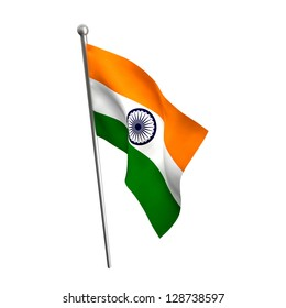 indian flag isolated on white
