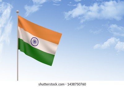 Indian Flag Waving with blue sky, 3D illustration, Indian day concept,3d render, India Flag,