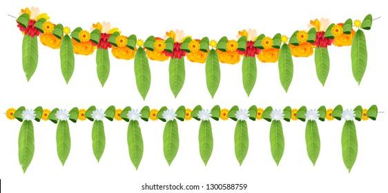 Indian flower garland of mango leaves and marigold flowers. Ugadi holiday ornate decoration. Isolated on white illustration