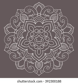 Indian flower mandala. Bohemian pattern in the form of a medallion. Round Eastern, Turkish, Arabic,  decoration.
