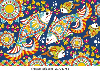 Indian Folk Painting. Madhubani Painting - Fish