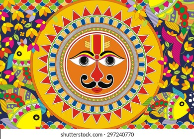 Indian Folk Painting. Madhubani Painting - Sun