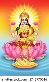 The Indian God of Wealth Lakshmi and Gold Coins