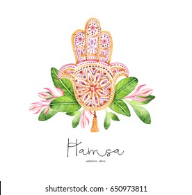 Indian hand drawn hamsa with ethnic ornaments and watercolor flowers and tropical leaves