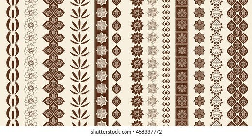 Indian Henna Border decoration elements patterns in brown colors. Popular ethnic border in one mega pack set collections. Art illustrations.Could be used as divider, frame, etc