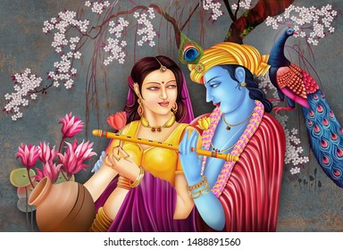 Indian Hindu Religious God Lord Krishna With The Radha Who Is His Best Loveship and Best Soulful Moment Each other Under Flower Tree. It Can Be Used For Wallpaper, Home Decoration, Poster, Ceramic.