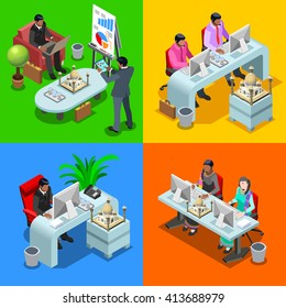 Indian isometric people business infographic. Businessman business man and woman employee.Flat 3D isometric people set. Business Meeting Isolated elements illustration.
