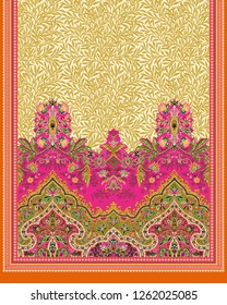 Indian ladies scarf design for textile print. A beautiful ladies scarf design with pink, green and off white colors with border. Shawl design for textile print.