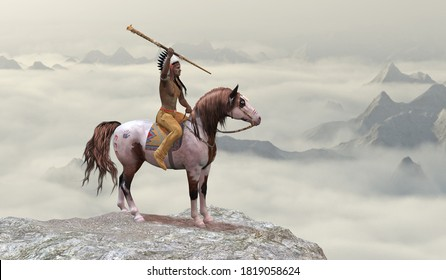 Indian Leaping Bear 3D illustration - An American Indian in warbonnet rides his war pony to the top of a cliff in the western mountain range.