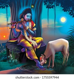 Indian lord Krishna with cow colorful illustration