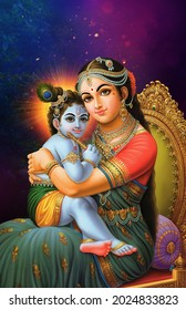 Indian Lord Krishna is seated on the chair of his mother Yashoda dark Blue Background Poster wallpaper