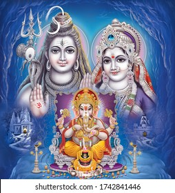 Indian lord Shiv family with decorative background