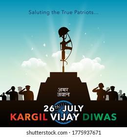 Indian Martyrs day shaheed diwas People remembering Indian Freedom Fighter, army saluting gun and tricolor flag, kargil vijay diwas background Amar Jawan Jyoti hindi text