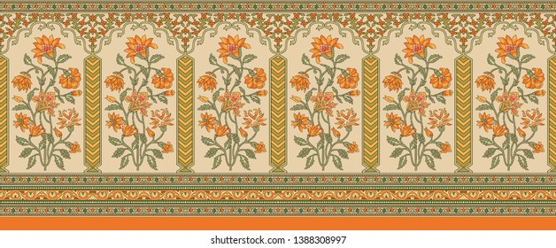 indian mughal flower border background
