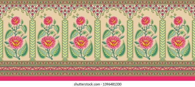 indian mughal flower border background