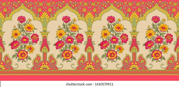 Indian mughal flower motif background border