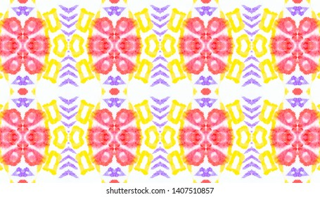 Indian Native American Pattern. Fashion Abstract Decoration. Bohemian Native Kaftan. Linear Red and Yellow Ethnic Print. Native American Watercolor Seamless Pattern.