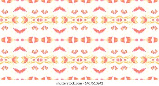 Indian Native American Pattern. Handdrawn Geometric Background. Vintage Grunge Native Kaftan. White, Red and Orange Ethnic Texture. Native American Watercolor Seamless Pattern.