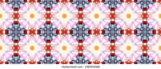 Indian Native American Pattern. Pastel Blue and Brown Seamless Texture. Abstract Kaleidoscope Design. Repeat Tie Dye Illustration. Ethnic Asian Design. Indian Traditional Americal Pattern.