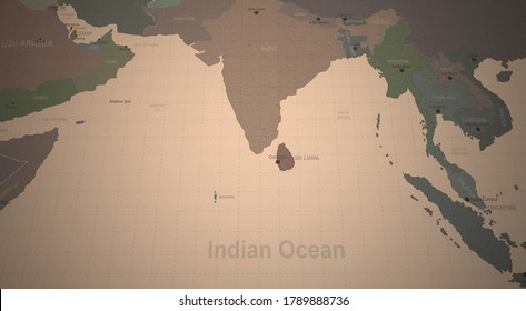 indian ocean countries map. 3d rendering of vintage continental world map