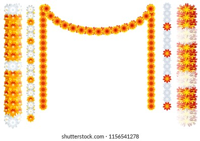 Indian orange flower garland mala frame isolated on white