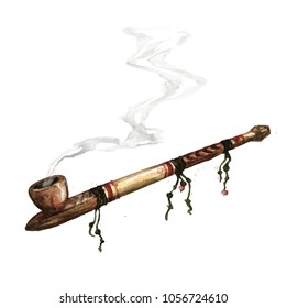 Indian Peace Pipe. Watercolor Illustration.