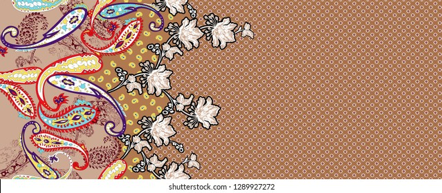Indian Printable Seamless Digital Textile Paisley Pattern Border With Doted Background Design - Illustration