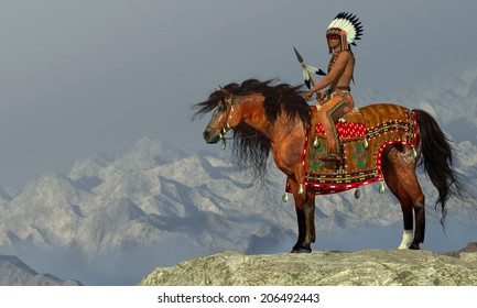 Indian Proud Eagle - An American Indian sits on his Appaloosa horse on a high cliff in a desert area.