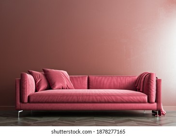 Indian red mock-up wall with hibiscus red sofa and pillows, modern interior, negative copy space above, 3d rendering, 3d illustration