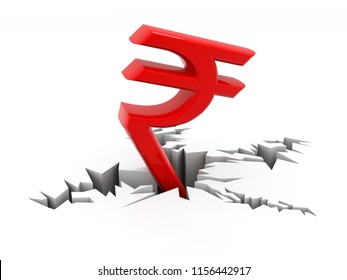 Indian Rupee crisis concept, Red Indian Rupee Symbol Down to Ground. 3D rendering isolated on white background