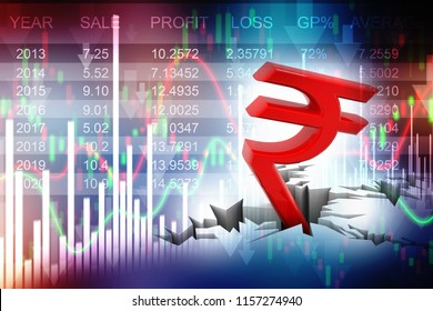 Indian Rupee crisis concept, Red Indian Rupee Symbol Down to Ground. 3D rendering isolated on stock market background